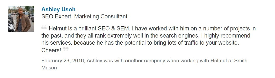 A review from LinkedIn of Helmut Hampton SEO agency