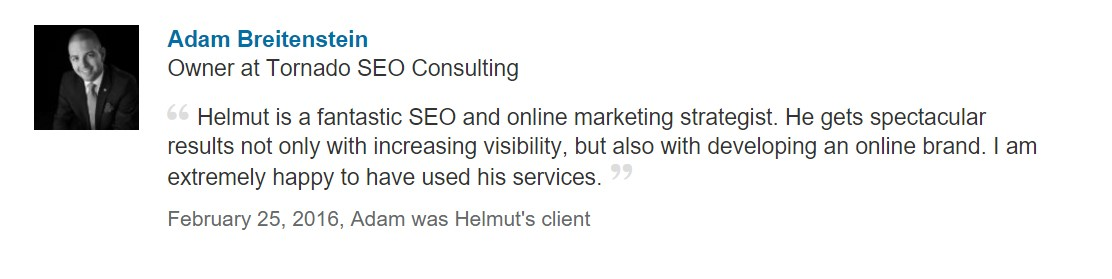 An image of Adam B recommending our SEO Tampa services in Citus Park.