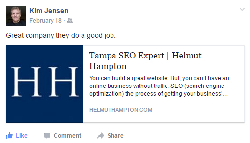 facebook recommendation for helmut hampton seo