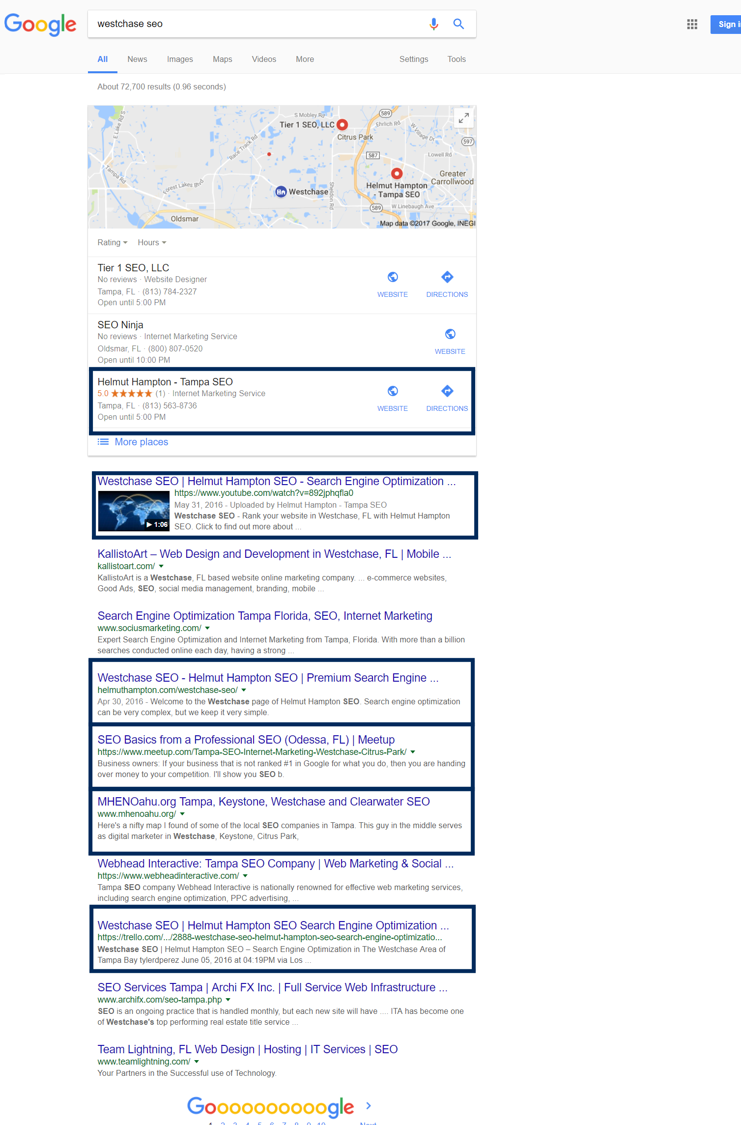 westchase seo rankings