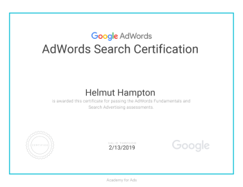Google AdWords Search Certificate awarded to Helmut Hampton