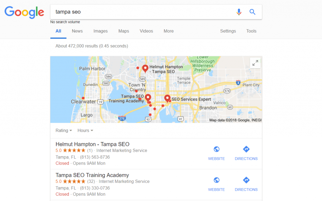 Google My Business Tampa SEO search results