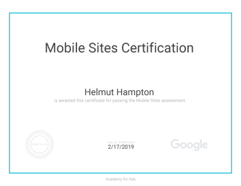 Google Mobile Sites Certificate awarded to Helmut Hampton