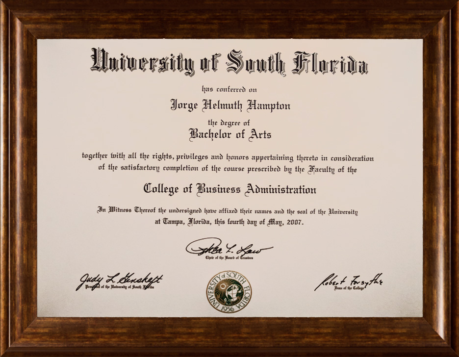 USF Marketing and Management with Honors Bachelor's Degree Conferred on Helmut Hampton BA