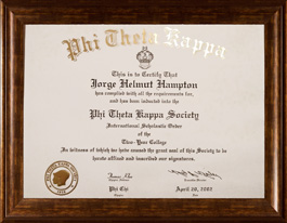 Helmut Hampton Phi Theta Kappa National Honors Society Certificate