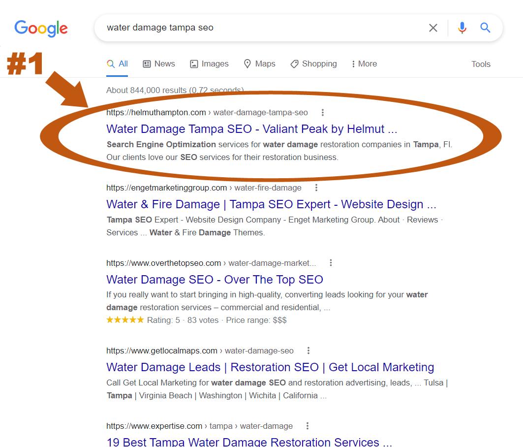 water damage tampa seo rankings